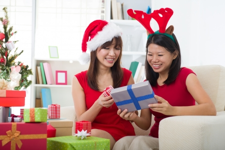 swapping: korean girl friends during christmas celebration