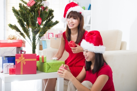 chinese christmas celebration among friends with home background photo
