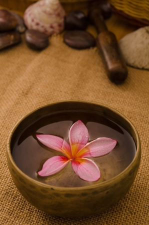 tropical spa setup with traditional frangipani flower and massage items Stock Photo - 18879416