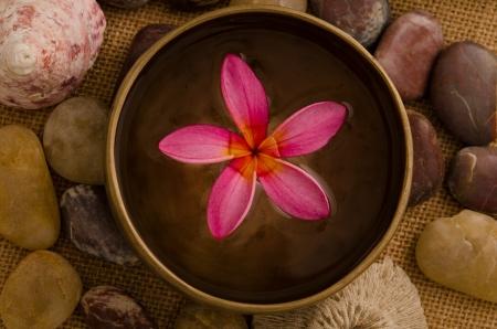 tropical spa setup with traditional frangipani flower and massage items