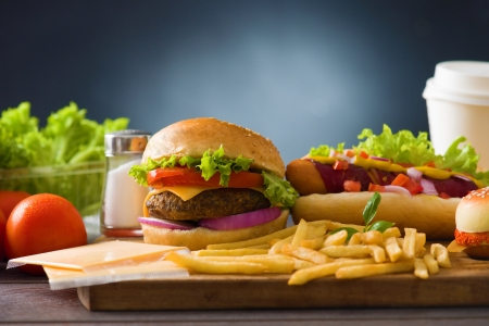 fast food hamburger,  hot dog menu with burger, french fries, tomato ,cola and many more   photo