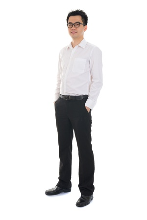 the descendant: Chinese business man of asian descendant , full length portrait isolated on white background