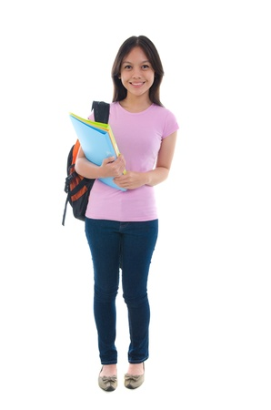 pan asian: malay college female student with white background Stock Photo