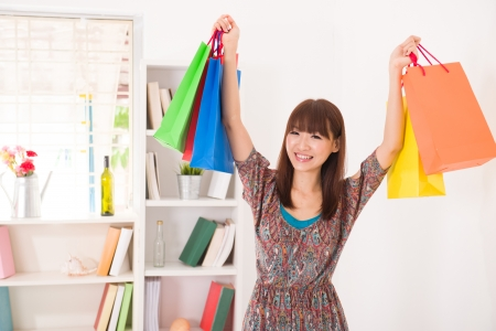 asian Chinese female online shopping with lifestyle background Stock Photo - 19378827