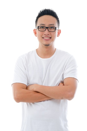 half body: casual confident looking asian male with isolated white background , half body   Stock Photo