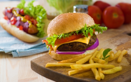 burger and fries: burger and french fries with fast food ingredients on the background