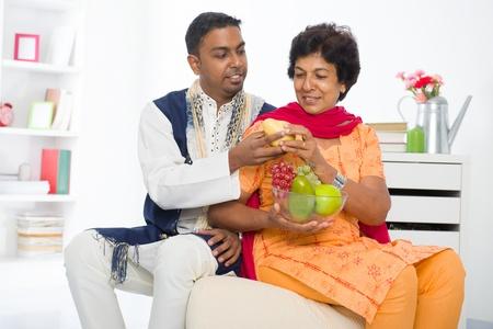 salwar: punjabi family ,mother and son with traditional punjab dress   Stock Photo