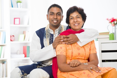 dhoti: punjabi family ,mother and son with traditional punjab dress   Stock Photo