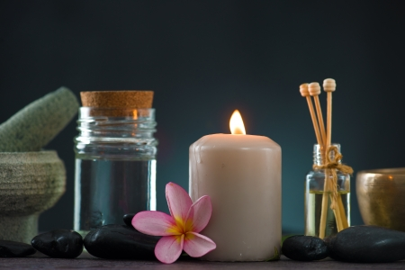 seething: tropical frangipani spa health treatment with aroma therapy and hot stones, shot with ambient lights