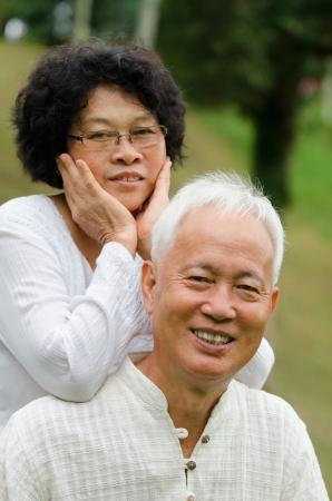 Chinese Asian senior couple at outdoor photo