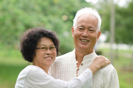 Japanese senior elderly couple smiling   photo