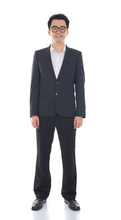 asian business male full length with coat on isolated white background photo