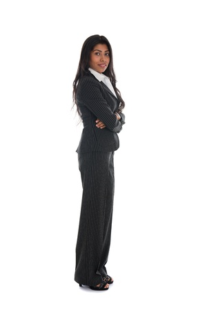 asian indian business woman full length with black suit isolated on white   photo