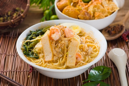 hoon: malaysian famous prawn noodle or har mee with decorations on background
