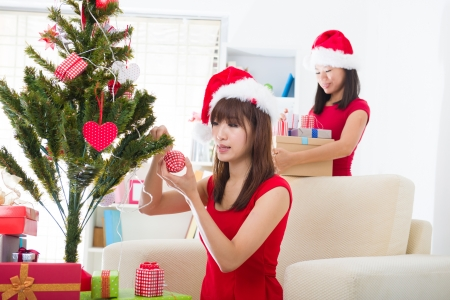 chinese christmas celebration, two female friends photo