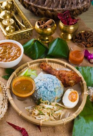 terengganu: Nasi Kerabu , a traditional east coast blue rice, Famous in states such as Terengganu or Kelantan Stock Photo