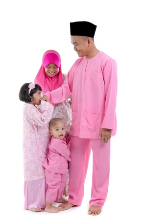 salam: malay indonesian family during hari raya occasion isolated with white background