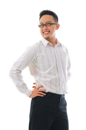 injure: Asian business man suffering for a backache. Isolated on white   Stock Photo