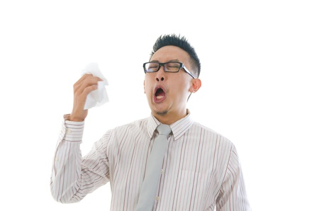 asian business man having a sick flu, sneeze   photo