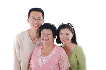 korean woman: chinese family isolated on white background