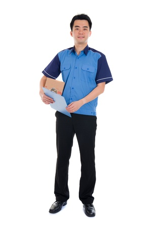 dispatch: chinese delivery dispatch boy delivering a package isolated against white background