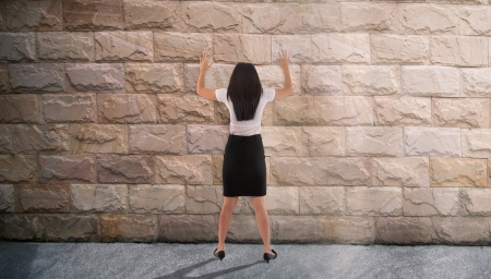 banging: dead end concept photo, asian business woman banging her head against the wall