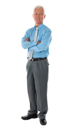 asian man face: senior chinese singaporean business man isolated on white background Stock Photo