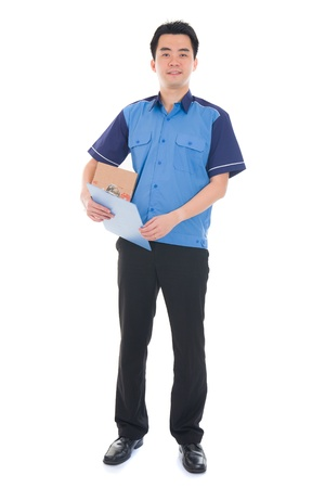 dispatch: asian  dispatch boy delivering a package isolated against white background