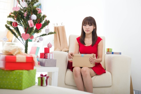 Christmas woman with xmas gift