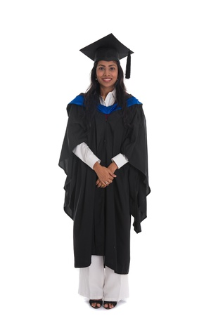 female indian graduate isolated on white background full body and siolated on white background   photo