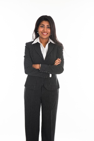 indian female business woman isolated in white background