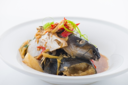 steam fish head, traditional chinese foods  photo
