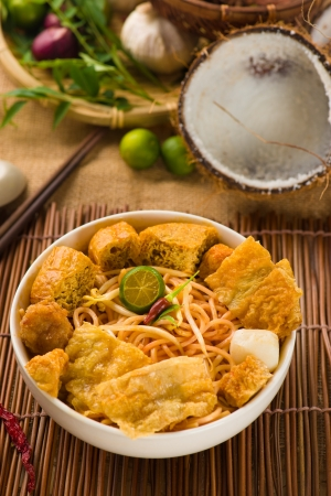 Hot and spicy Singapore food Curry Noodle photo