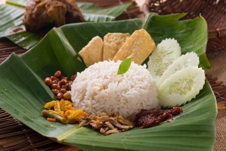 nasi: nasi lemak traditional malay food