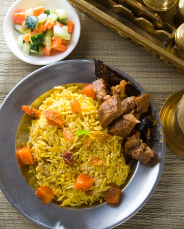 usually: arab rice, ramadan food in middle east usually served with tandoor lamb Stock Photo