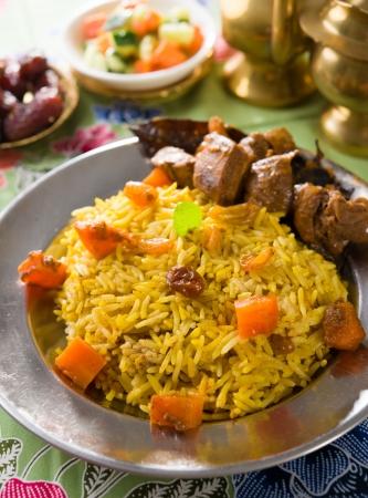 arabian food: arab rice, ramadan food in middle east usually served with tandoor lamb Stock Photo
