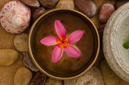 stone bowl: frangipani spa concept photo, lowlight ambient spa lighting, shallow dof   Stock Photo