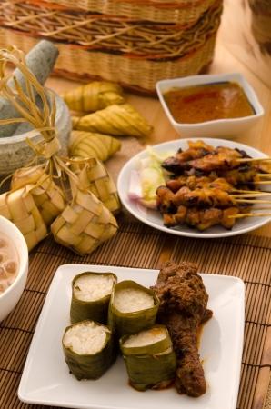 ramadan food lemang rendang and satay ,focus on lemang Stock Photo