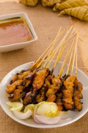 ramadan food, satay kebab roasted chicken photo