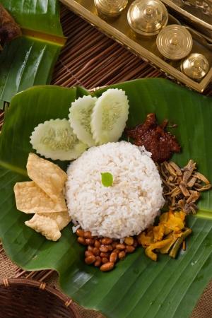 nasi lemak, traditional singapore food with backgrounds