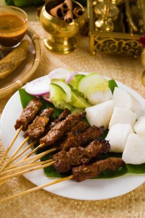 malaysia culture: satay malay hari raya foods ,focus on the meat  Stock Photo