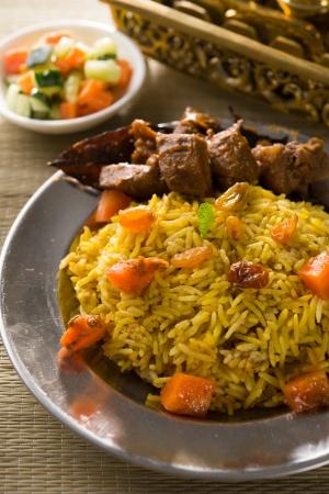 arabic food: arab rice, ramadan foods in middle east usually served with tandoor lamb