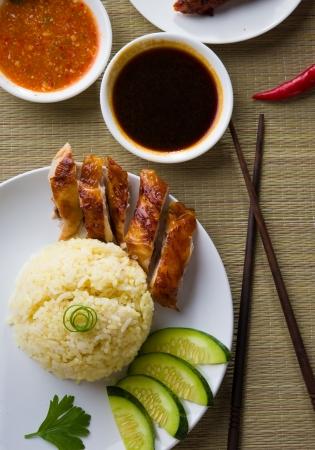 Hainan arroz con pollo, los alimentos singapur con materiales como fondo photo