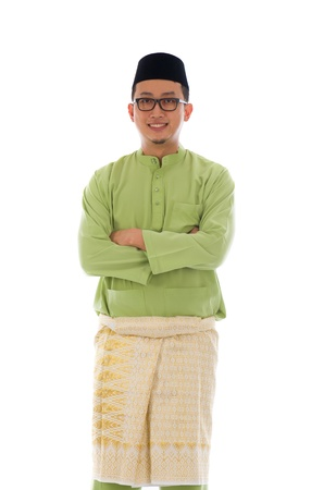 malay village: Malay male during ramadan festival with isolated white background
