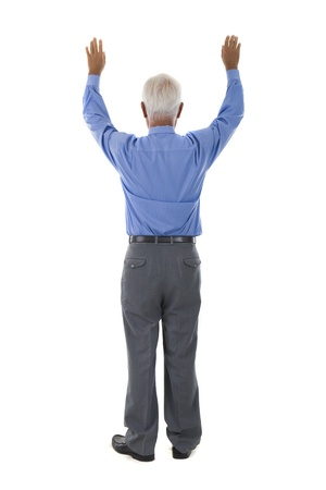 senior asian chinese business man raised arms in full body Stock Photo - 21089887