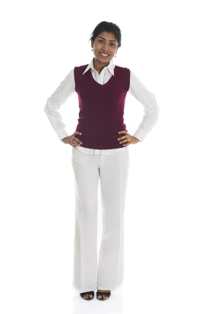 full size: african american woman in casual and isolated on white, full body