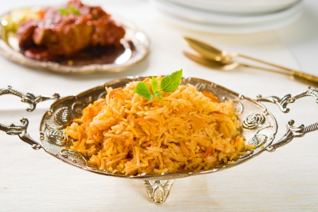 Biryani chicken rice with traditional india food  photo