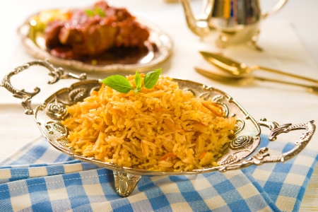 biryani: Biryani chicken rice with traditional india food