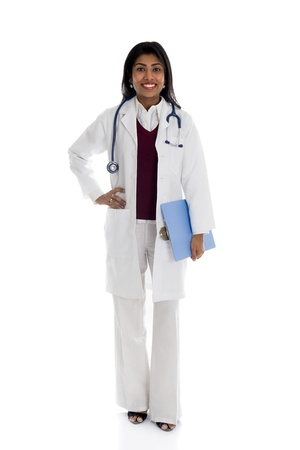 African American Doctor Woman isolated on white background   photo