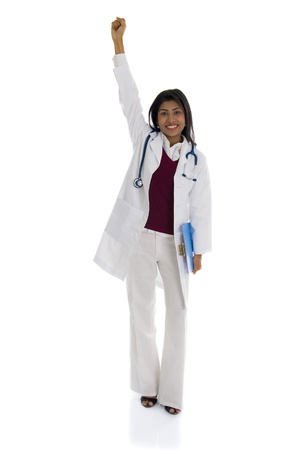 African American Doctor Woman celebrating success isolated on white background